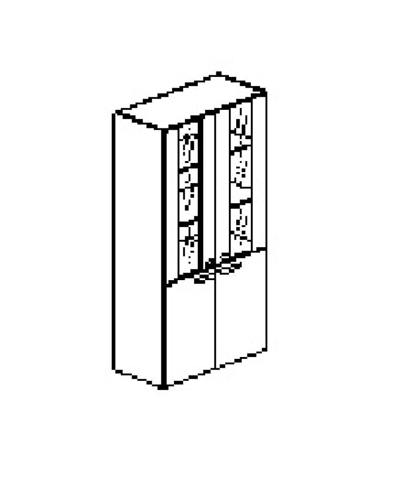 Silver irodabútor-irodai-ötrendezős-nagy-faüveges-zárt-szekrény